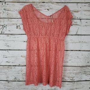 Free People Coral Lace Sheer Top